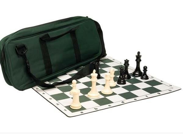 Set de ajedrez Premium - Piezas de ajedrez de plástico de la serie Marshall | Tablero para torneo| Bolso de ajedrez de lujo